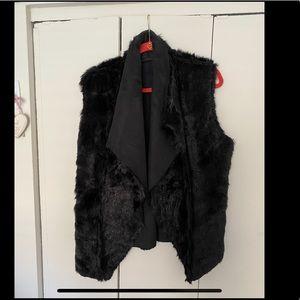 Reversible black suede vest